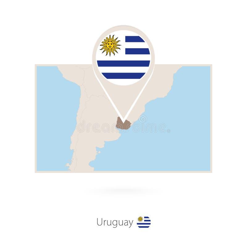 乌拉圭的长方形地图有乌拉圭的别针象的 库存例证