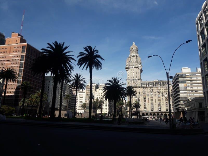乌拉圭蒙得维的亚独立广场建筑 库存照片