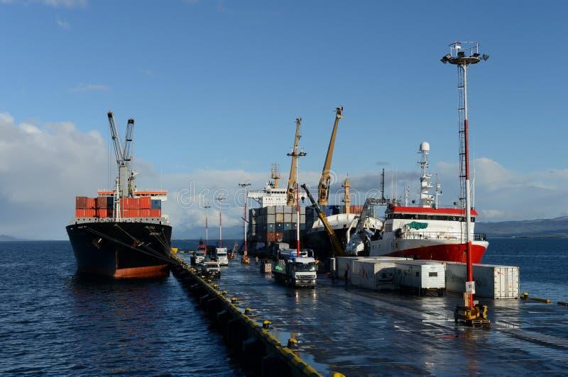 乌斯怀亚海港-最南端的城市在世界上 图库摄影