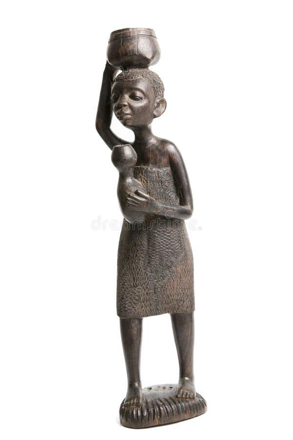 乌木非洲人雕塑 库存图片