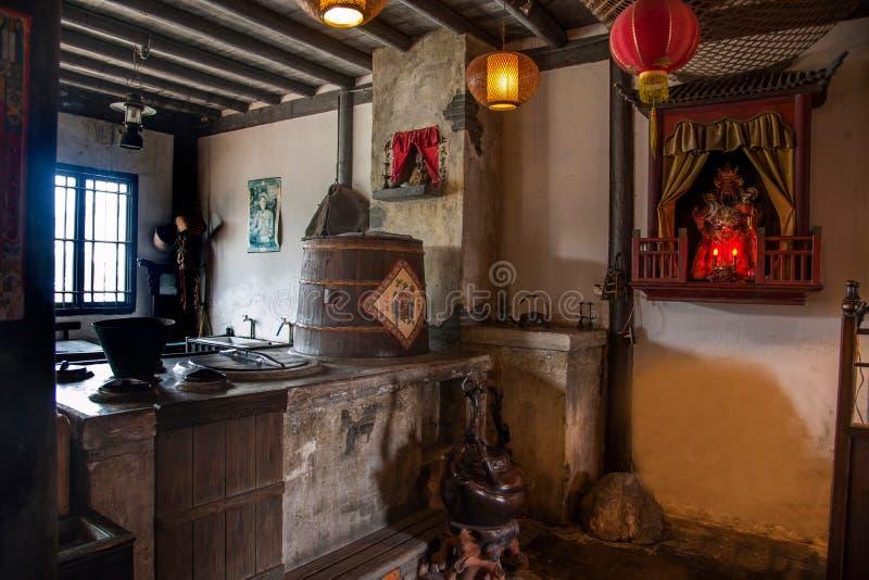 乌江市在古镇南方公园茶屋阶段 免版税图库摄影