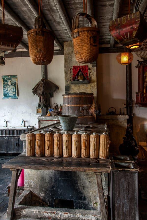 乌江市在古镇南方公园茶屋阶段 库存照片