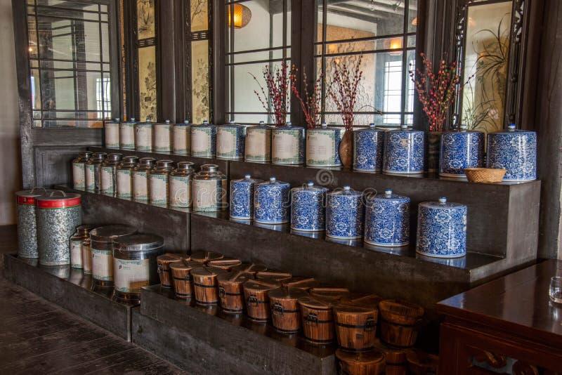 乌江市在古镇南方公园茶屋阶段 免版税库存照片