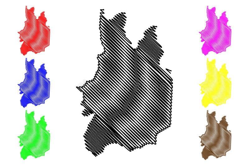 乌沃省,斯里兰卡管理部门,民主党社会主义斯里兰卡共和国,锡兰地图传染媒介例证, 向量例证