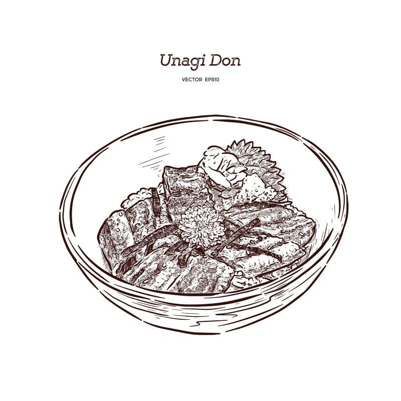 乌纳吉Donburi 日本烹调,烤鳗鱼用甜调味汁 r 皇族释放例证