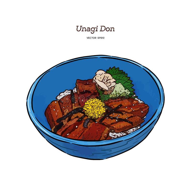 乌纳吉Donburi 日本烹调,烤鳗鱼用甜调味汁 向量例证
