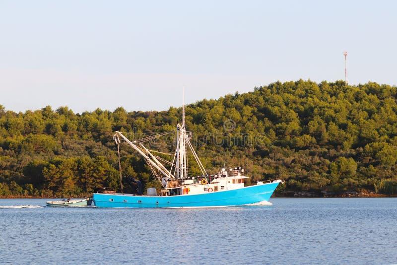 乌贼提取的捕鱼船在通过绿色岸的清早航行返回 头足纲动物抓住在Adr的 免版税库存照片