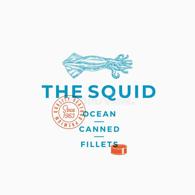 乌贼海洋装内圆角于罐中 抽象传染媒介标志、标志或者商标模板 与现代的手拉的乌贼例证 库存例证