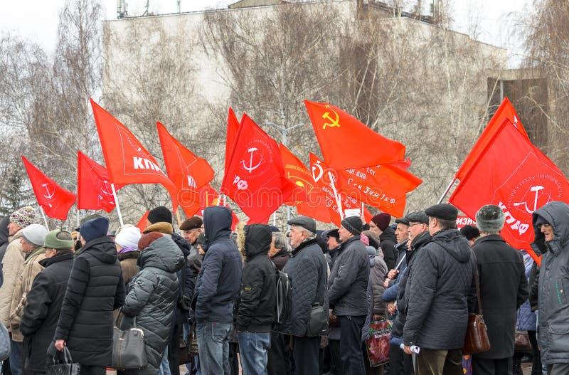 乌里杨诺夫斯克号,俄罗斯,march23,2019年,共产主义者集会反对社会不公道成长,成长的  库存照片