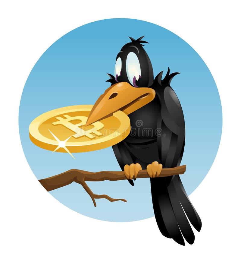 乌鸦举行bitcoin标志 免版税库存图片