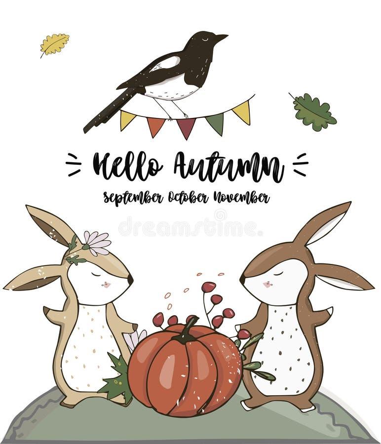 乌鸦和兔宝宝字符剪贴美术导航森林动物秋天卡片充分的丝带逗人喜爱的野生生物文本猫庭院篮子卡片celebrati 皇族释放例证