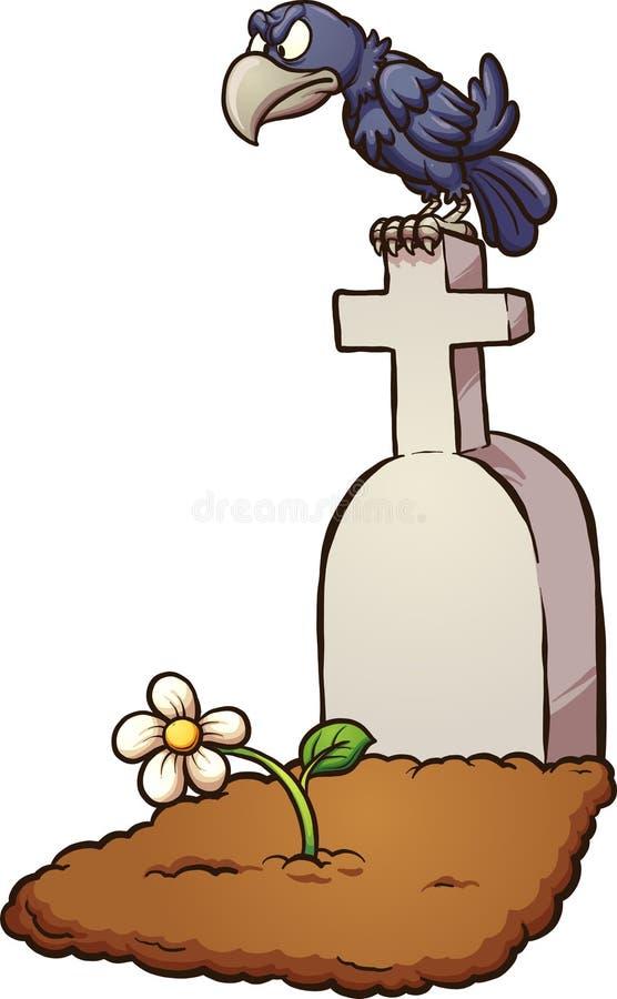 乌鸦墓碑 向量例证