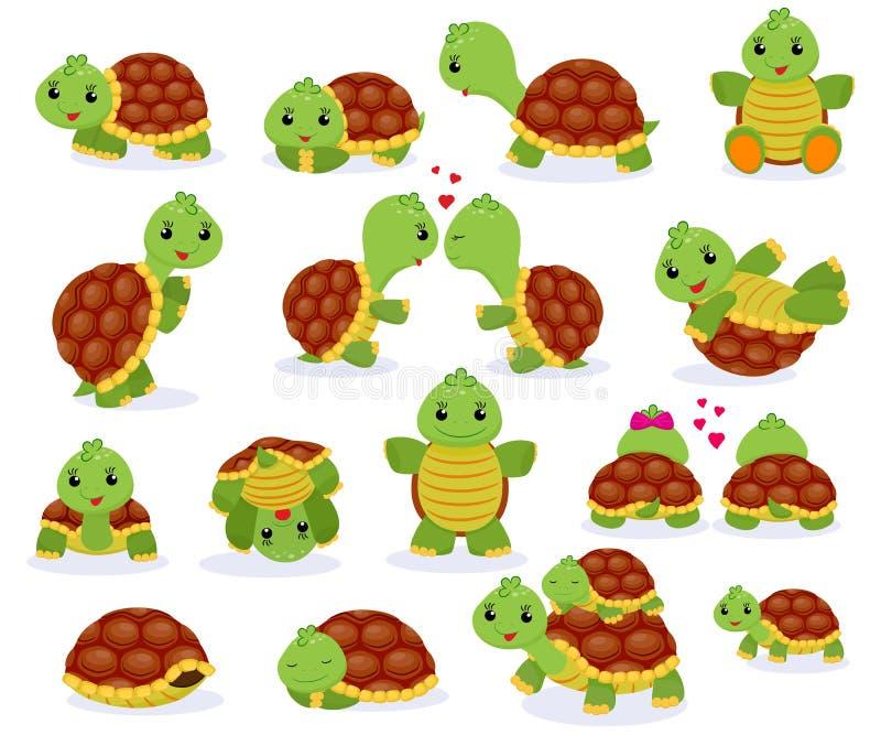 乌龟传染媒介动画片seaturtle在海和睡觉草龟的字符游泳在龟甲例证套  向量例证