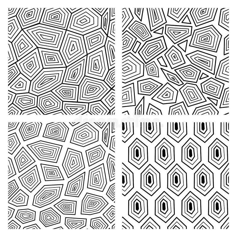 乌龟壳传染媒介例证的几何无缝的艺术装饰样式 向量例证