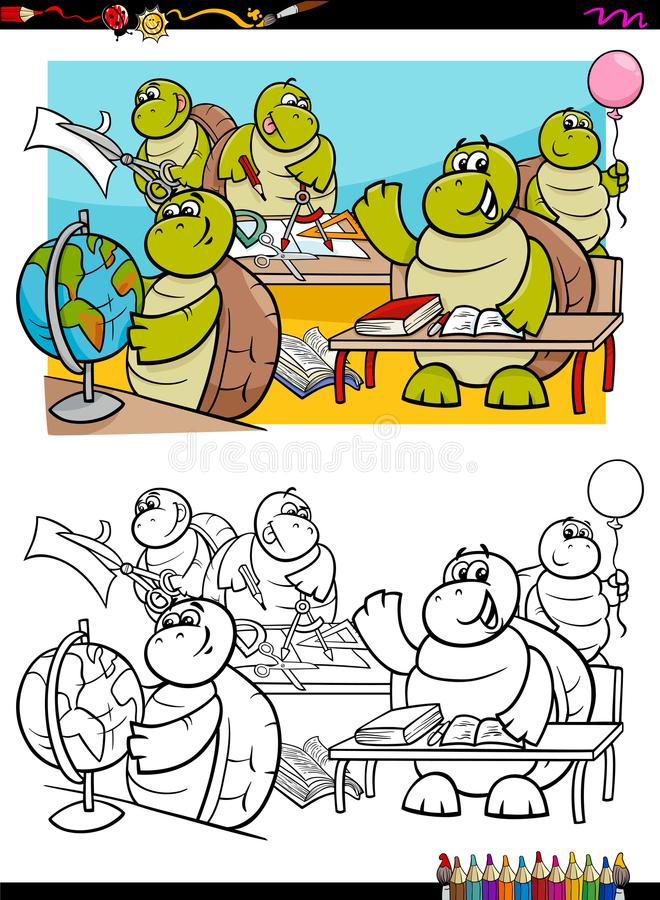 乌龟学生字符彩图 库存例证