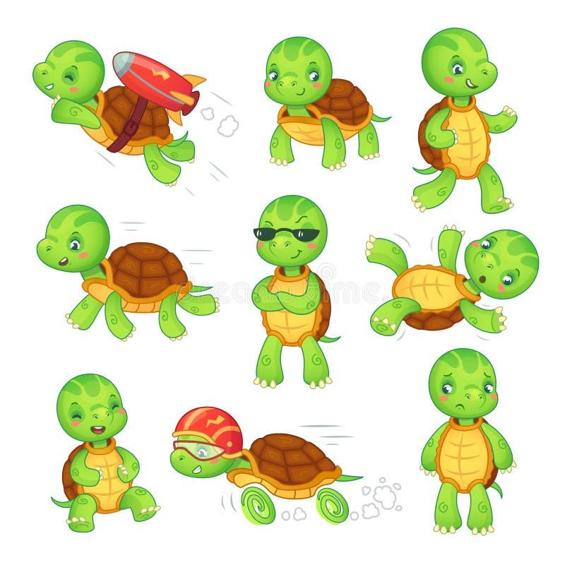 乌龟孩子 连续快速的草龟 绿色孩子乌龟漫画人物被隔绝的传染媒介例证集合 库存例证