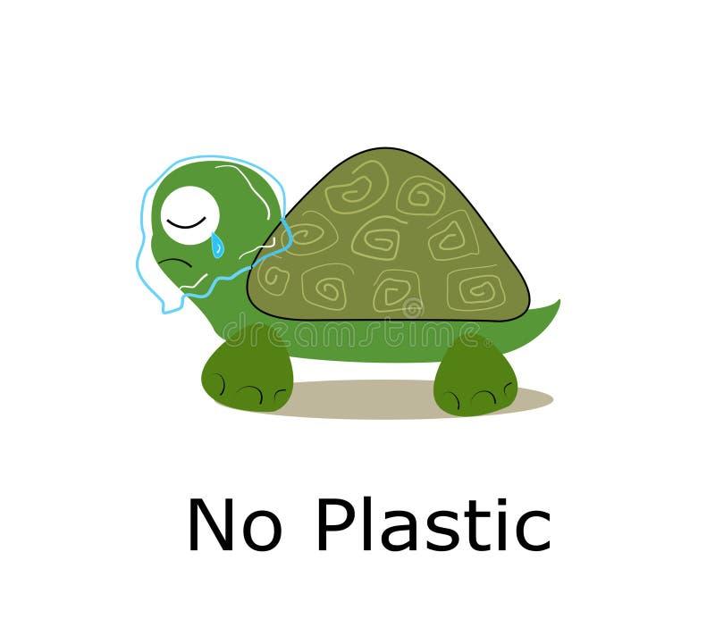 乌龟抢救与塑料被包裹在它的脖子上 r 向量例证