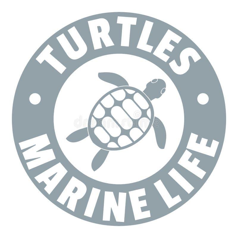 乌龟海洋生物商标,简单的灰色样式 向量例证