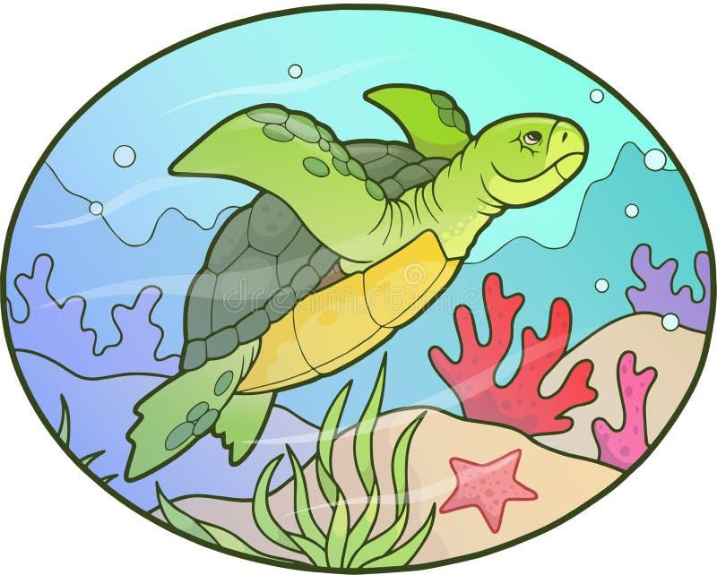 乌龟游泳在深度 皇族释放例证
