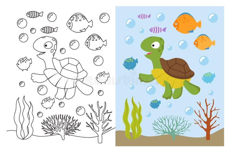 乌龟着色页 动画片游泳的海洋动物在水面下 孩子彩图的传染媒介例证 库存例证