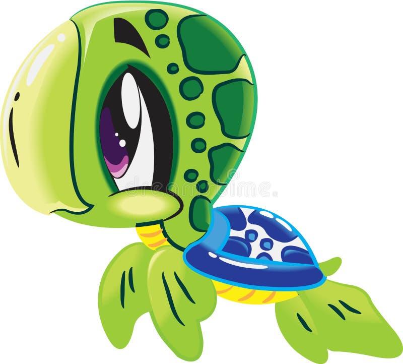 乌龟-在水动物字符下的逗人喜爱的海洋生活动画片收藏 库存例证