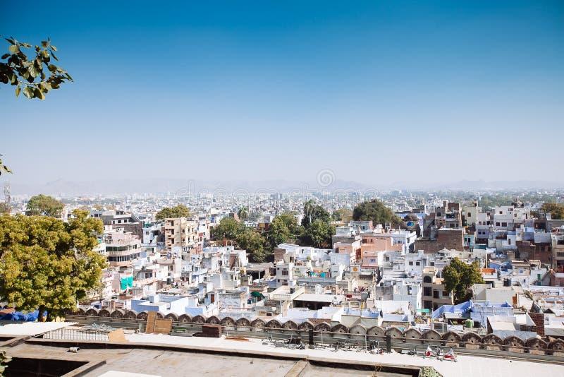 乌代浦市,印度鸟瞰图  库存图片