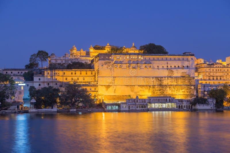 乌代浦拉贾斯坦国家的市宫殿的印度 库存图片