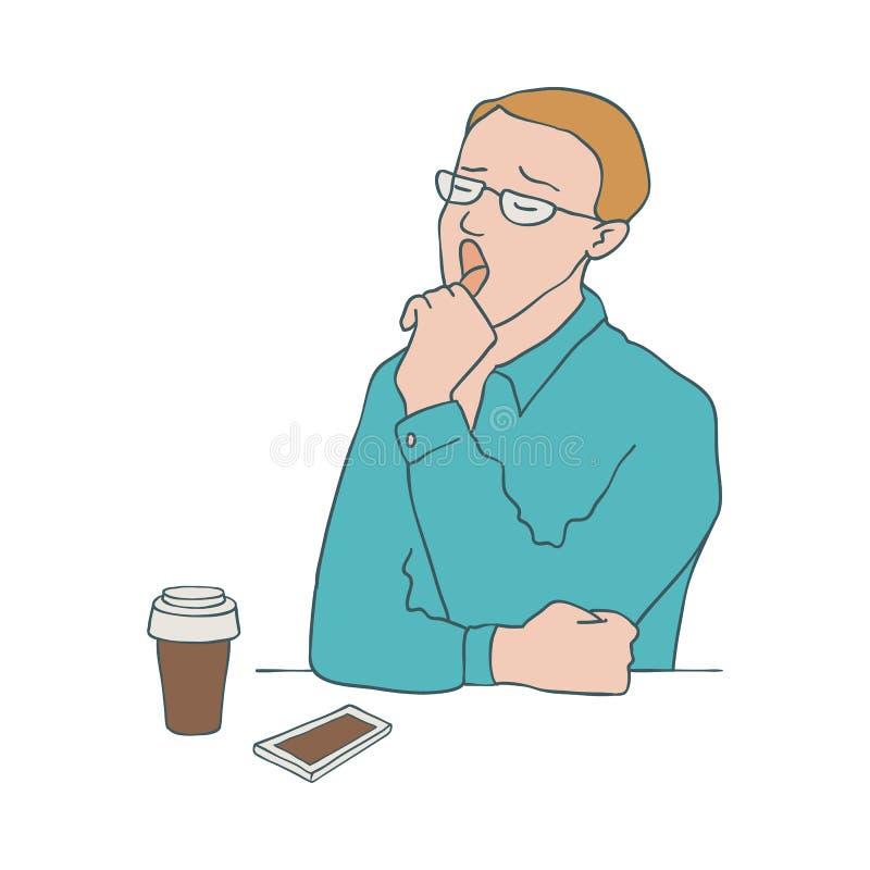 乏味人传染媒介例证-打呵欠的男性角色,当坐在桌上用咖啡和手机时 库存例证