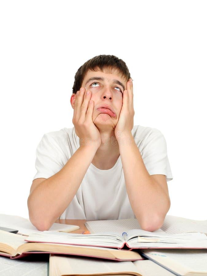 乏味和疲乏的学员 库存图片