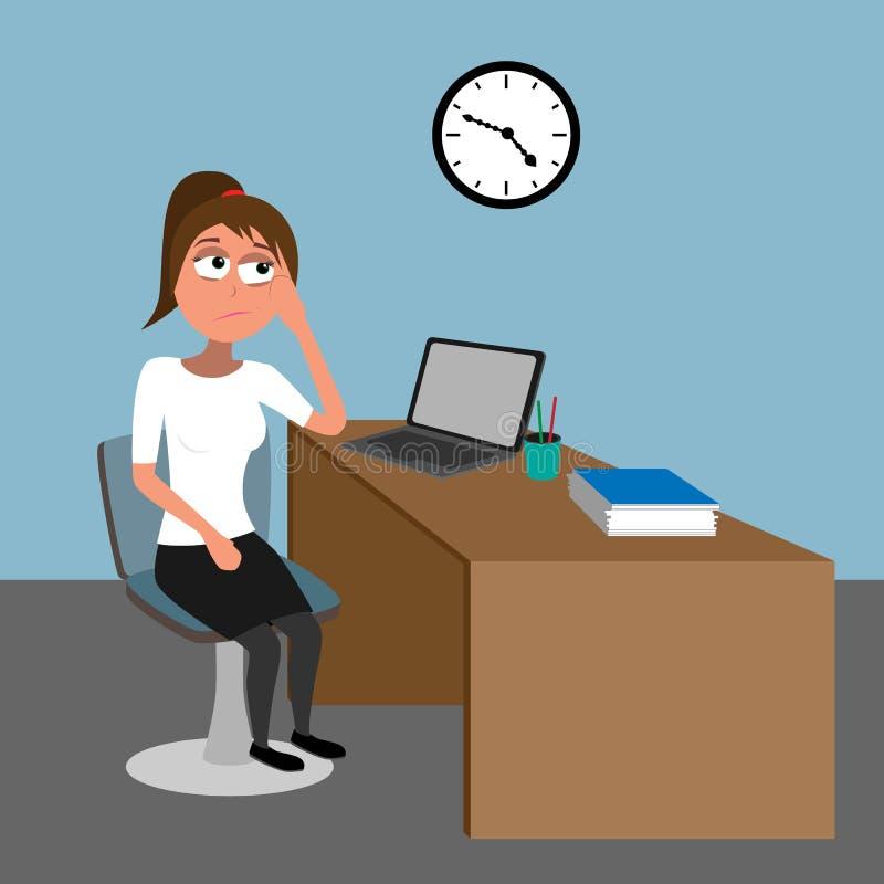 乏味在办公室-等待五的少女滑稽 皇族释放例证