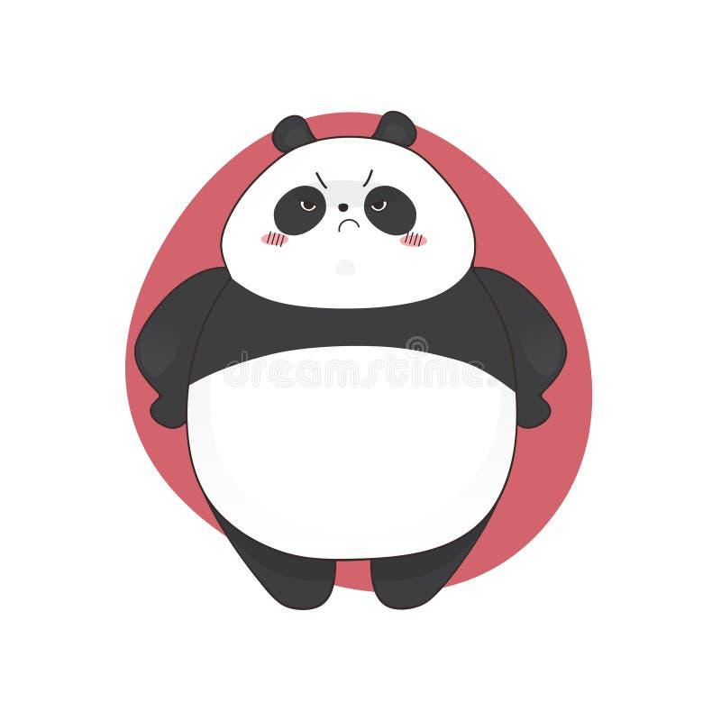 乏味逗人喜爱的恼怒的熊猫动画片样式 向量手拉的例证 库存例证