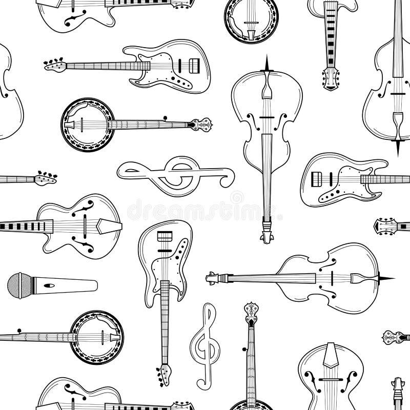 乐器手拉的概述无缝的样式 向量例证