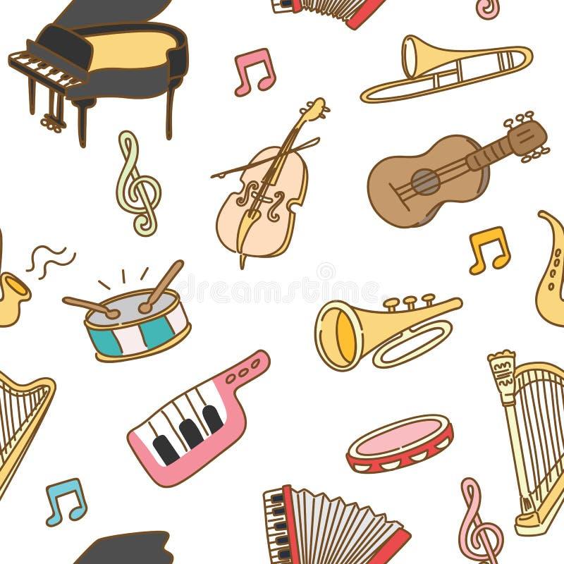 乐器无缝的样式背景 向量例证