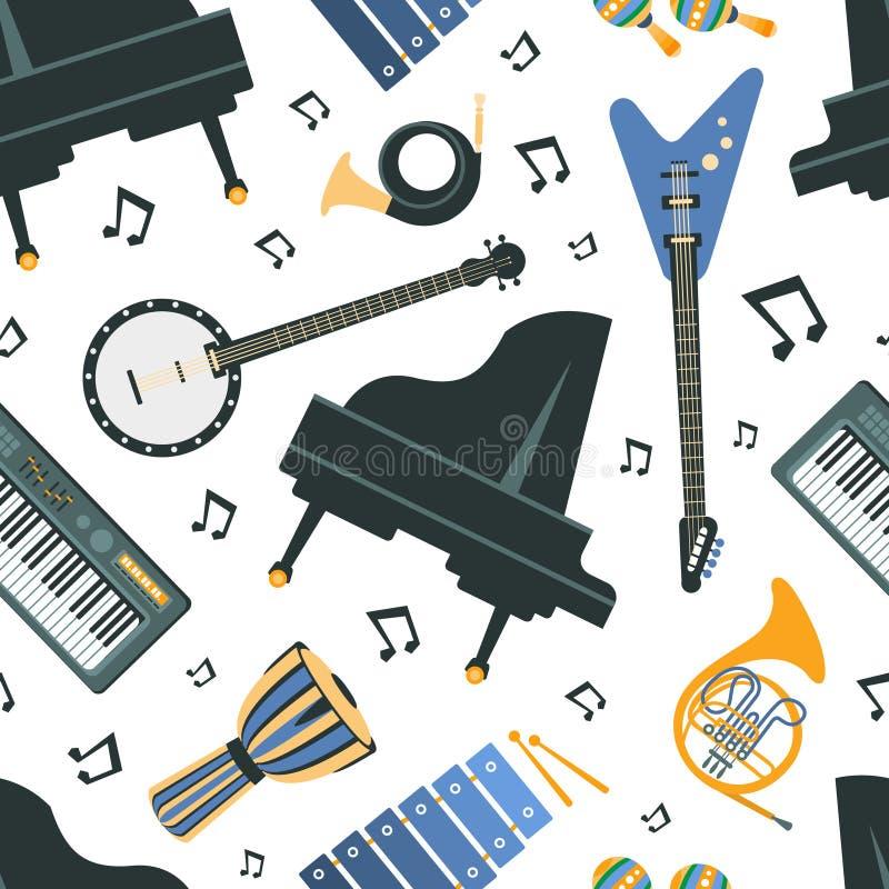 乐器无缝的样式,钢琴,班卓琵琶,吉他,法国号,喇叭,合成器,设计元素可以是 库存例证