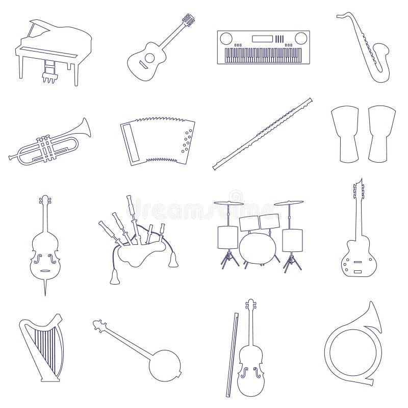 乐器概述被设置的传染媒介象 库存例证