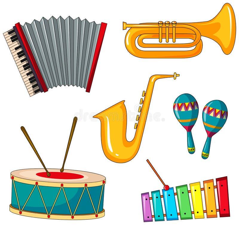 乐器的不同的类型 向量例证