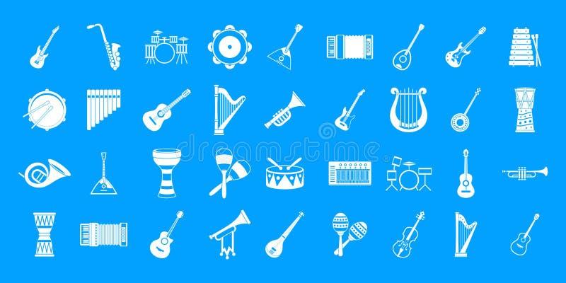 乐器象蓝色集合 库存例证