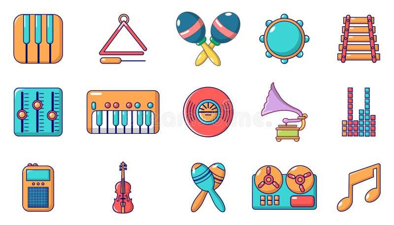 乐器象集合,动画片样式 库存例证