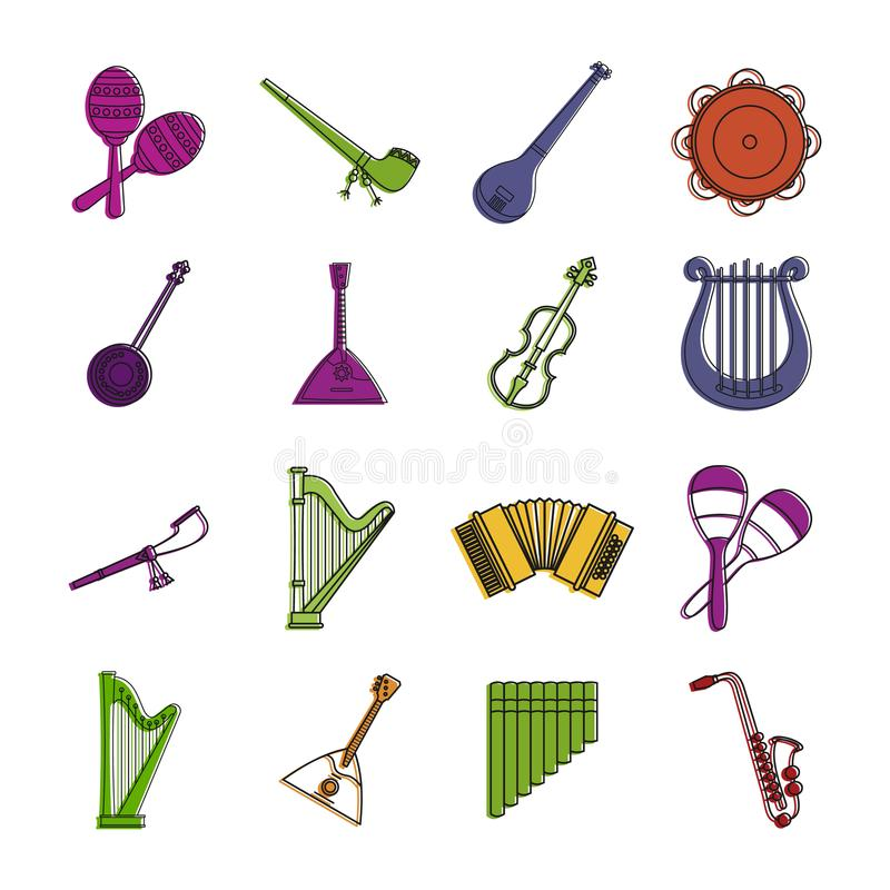 乐器象集合,颜色概述样式 库存例证