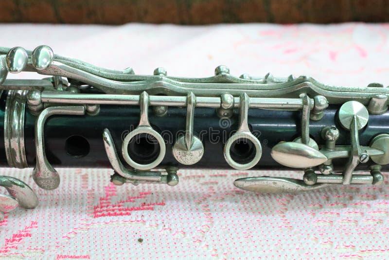 乐器,单簧管,吹的仪器有些片断  免版税库存图片