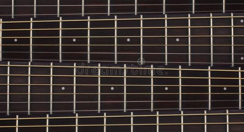 乐器-声学吉他脖子背景 免版税图库摄影