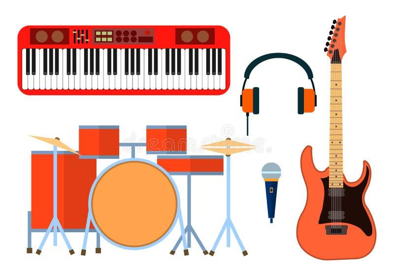 乐团的乐器象 吉他合成器,鼓,话筒,带的耳机 平的设计图片