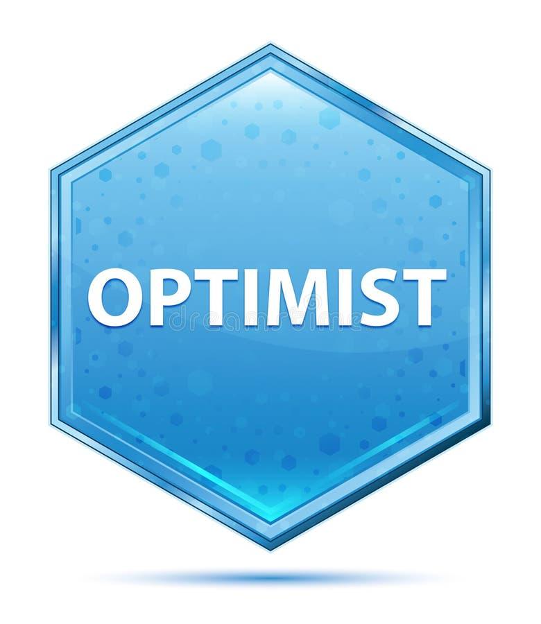 乐观主义者水晶蓝色六角形按钮 向量例证