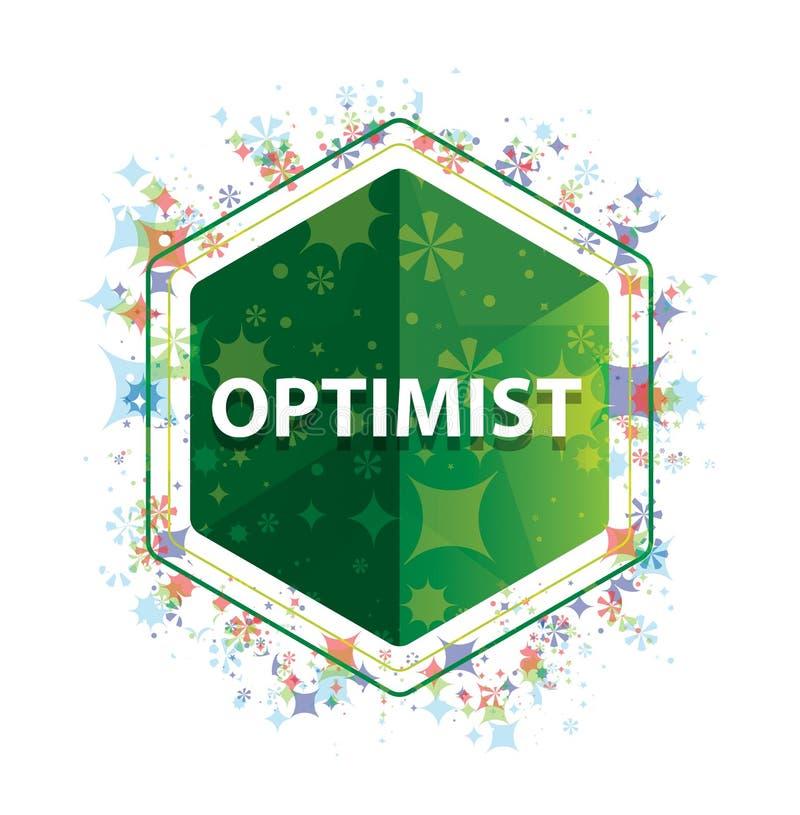 乐观主义者花卉植物样式绿色六角形按钮 向量例证