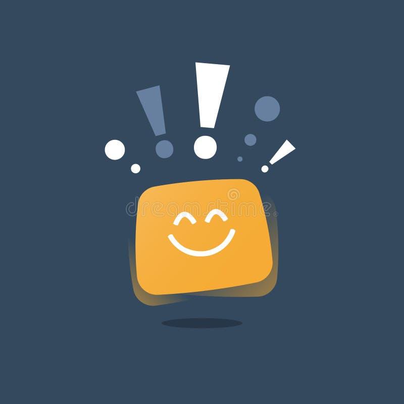 乐观态度概念,正面认为,明确情感,好经验反馈,愉快的客户,服务质量 库存例证