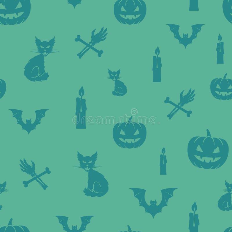 乐趣万圣夜象传染媒介无缝的背景样式 猫、南瓜和棒和蛇神手有骨头和蜡烛的 向量例证