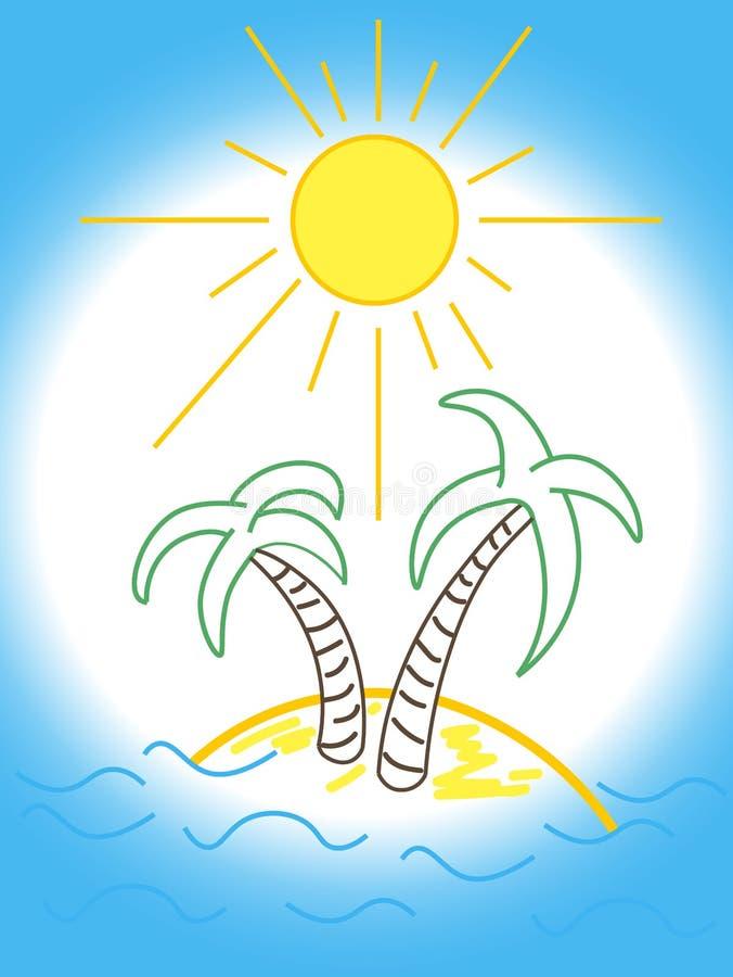 乐趣与棕榈树的海滩商标 库存图片