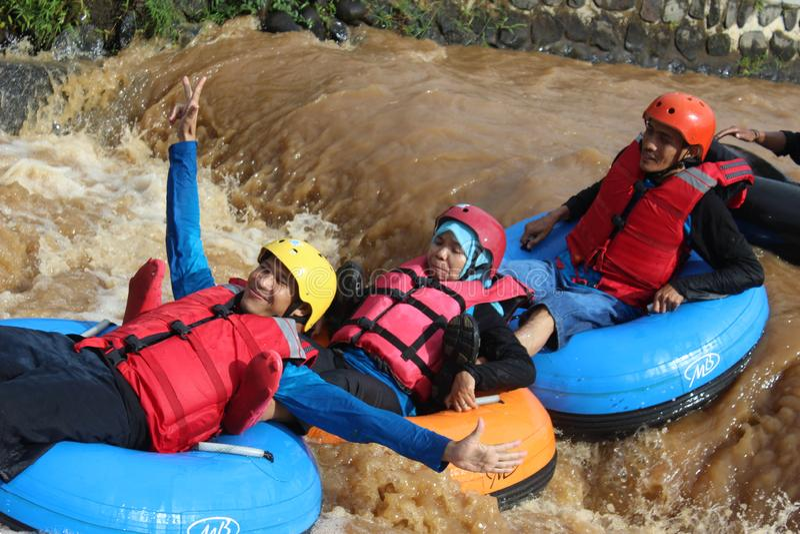 乐趣与浮体的河流程 库存图片