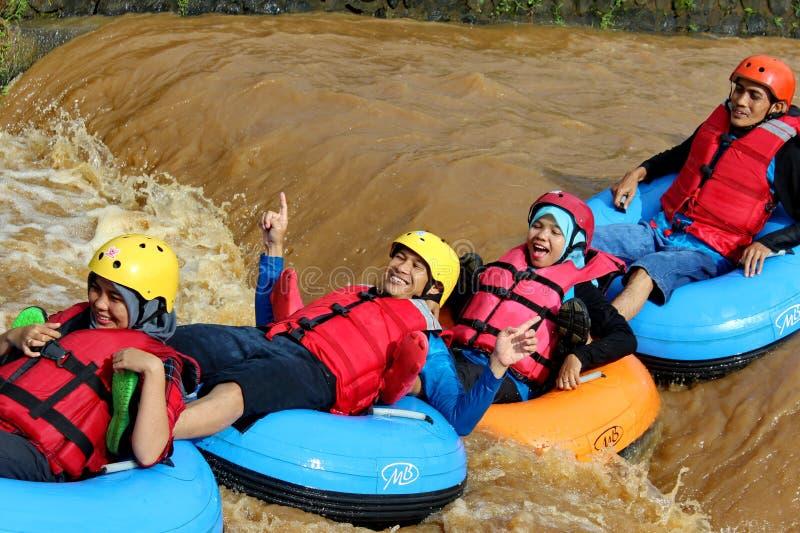乐趣与浮体的河流程 图库摄影