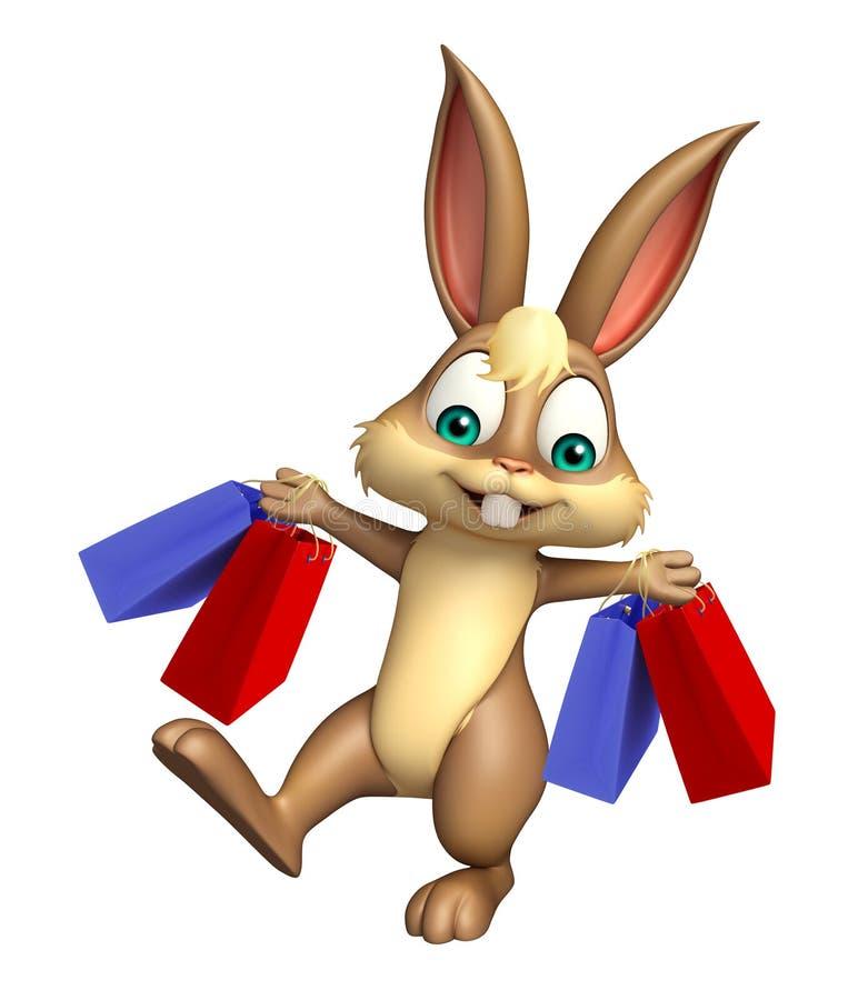 乐趣兔宝宝与购物袋的漫画人物 向量例证
